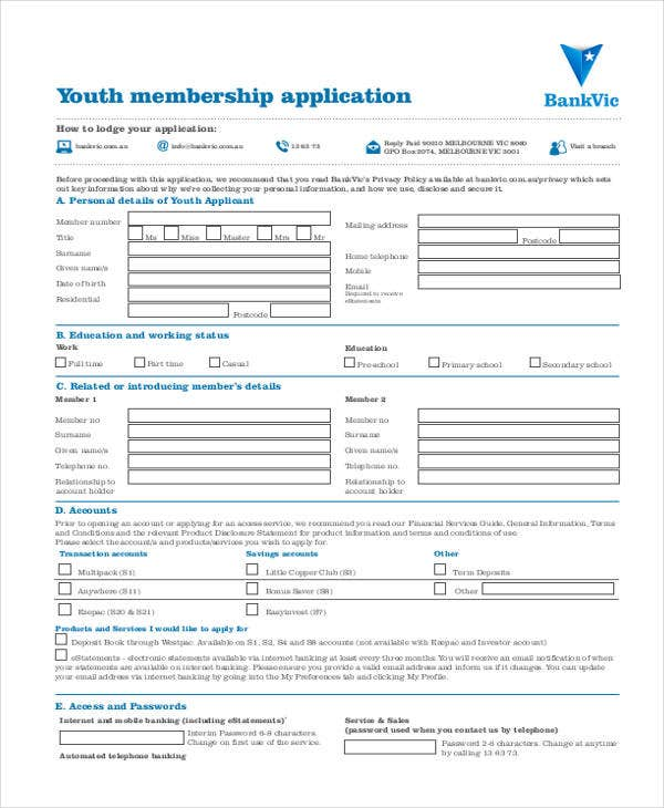 youth membership application