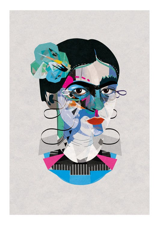 Frida Kahlo Abstract Portrait Illustration