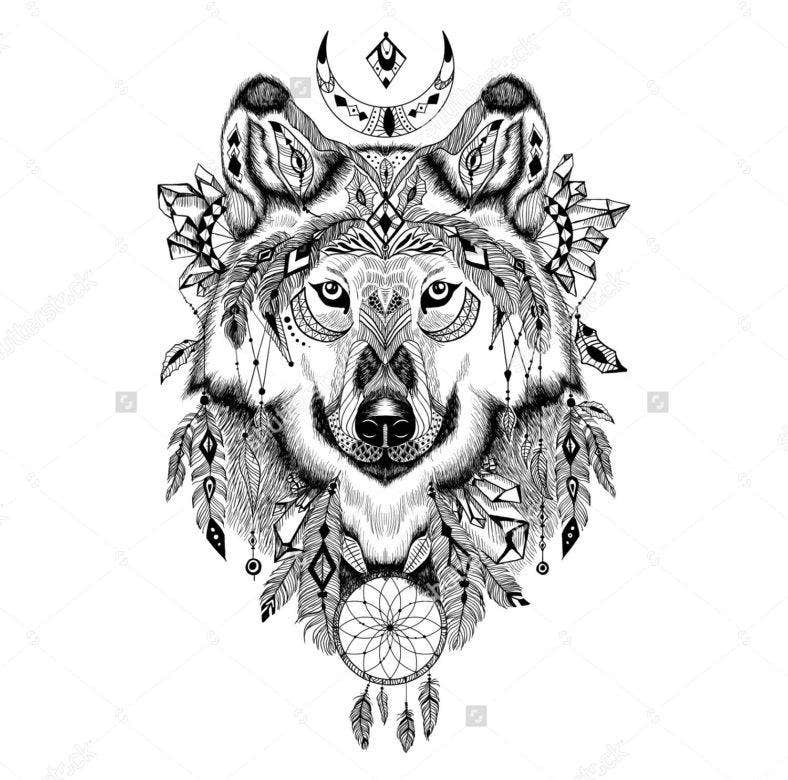 Aztec Wolf Illustration