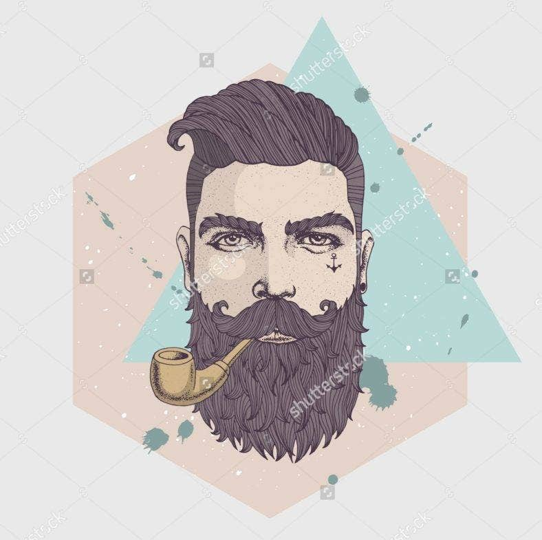 Bearded Hipster Portrait Illustration