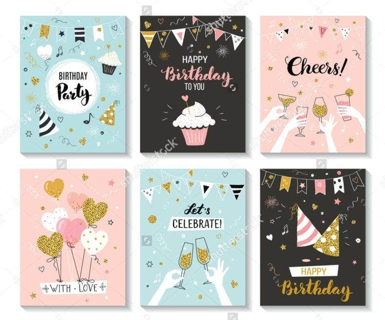 Birthday Card Illustration Set