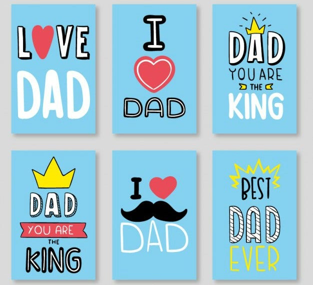 Blue Father's Day Vector Set