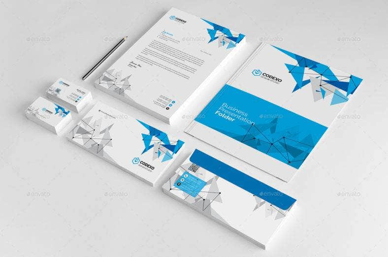 Blue Geometric Business Stationery