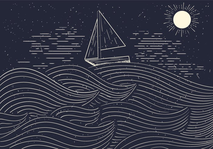 Boat at Sea Hand Drawn Illustration