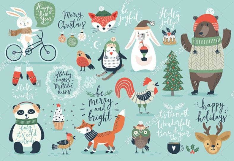 Christmas Animal Vector Set