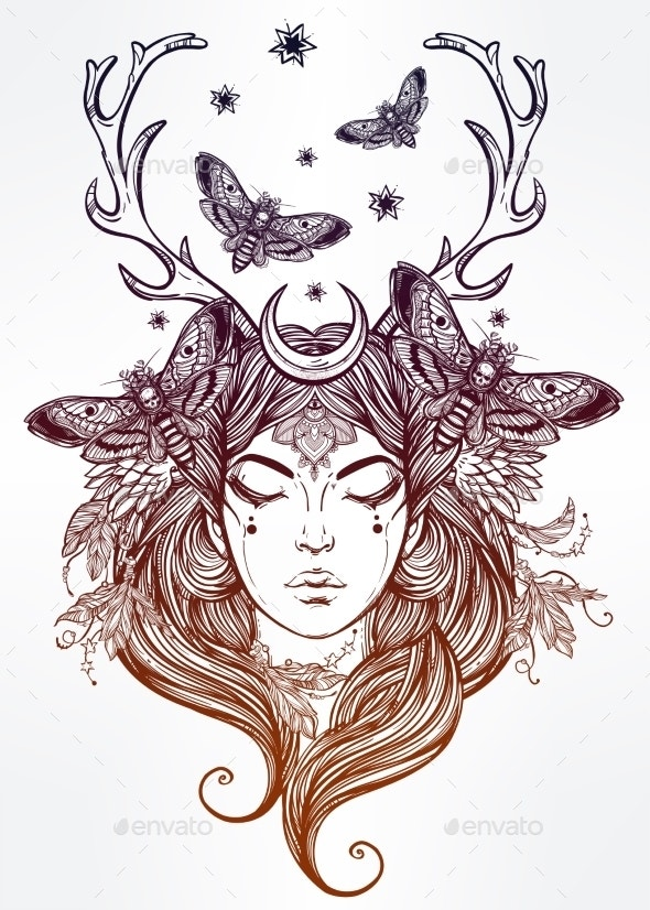 Female Mystic Shaman Portrait Illustration