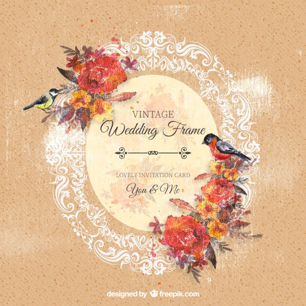 fp ornamental wedding frame with flowers and birds