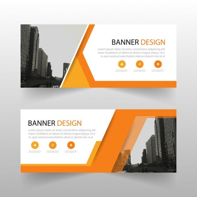 Website banner templates free premium templates geometric banner with orange shapes pronofoot35fo Choice Image
