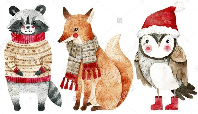 Happy Holidays Animal Illustratuins