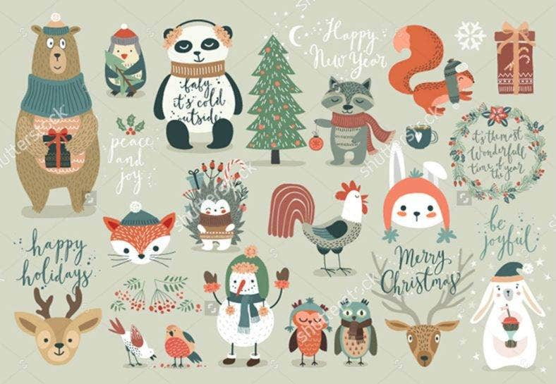 Holiday Season Animal Illustrations