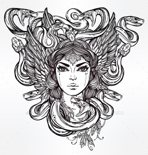 Medusa Portrait Illustration