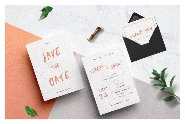 Minimalist Marble Wedding Invitation Template