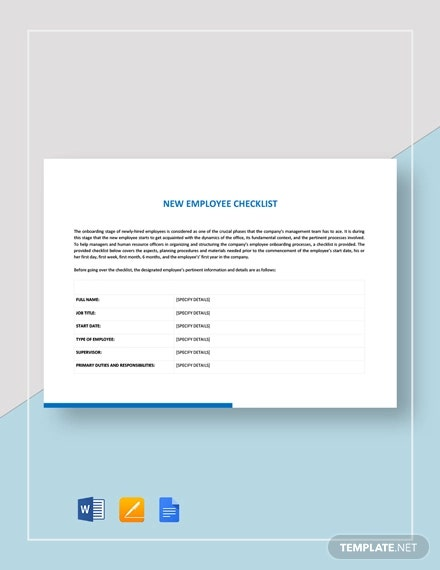 New Employee Checklist Template 14 Free Pdf Documents Download Free Premium Templates