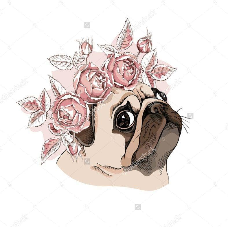 Pug with Floral Crown Portrait
