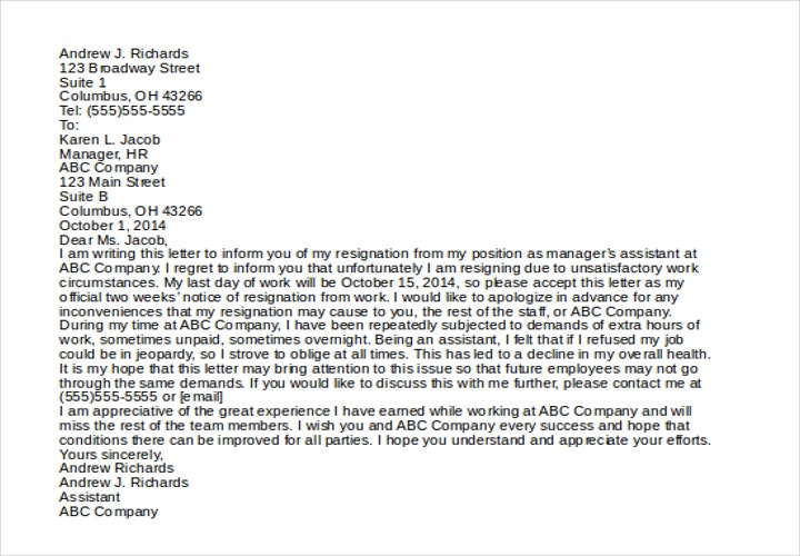 resignation letter due to unsatisfactory work circumstances