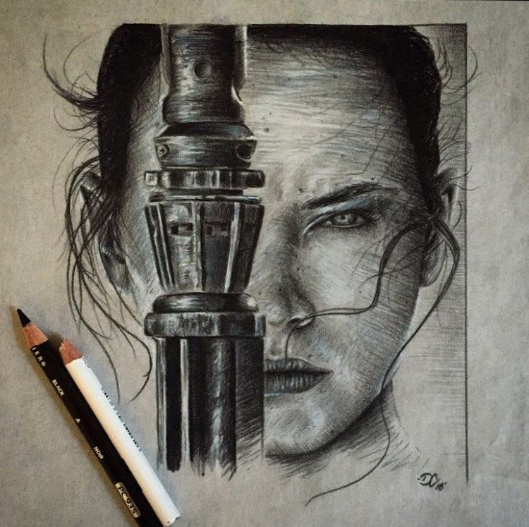 Rey Star Wars Portrait Illustration