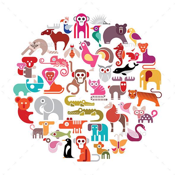 Round Animal Vectors