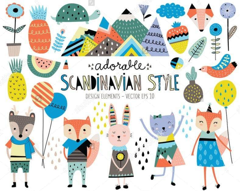 Scandinavian Style Animal Illustrations