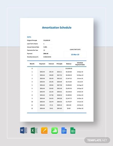 amortization schedule template