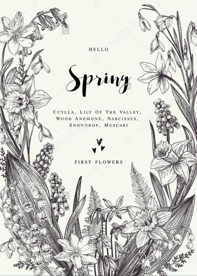 Black and White Spring Illustration