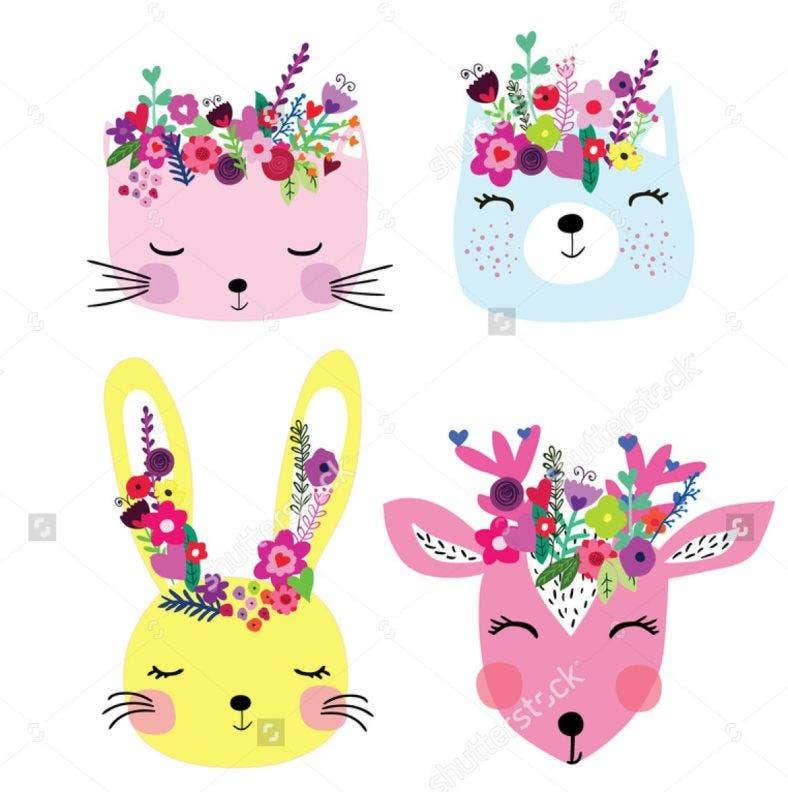 Spring Floral Animals