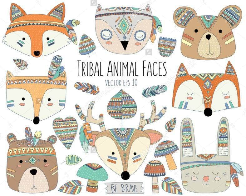 Tribal Animal Faces