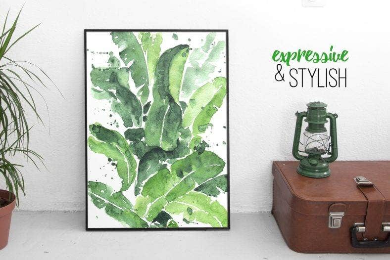Watercolor Tropical Leaves Poster