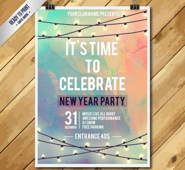 Watercolor New Year's Party Flyer