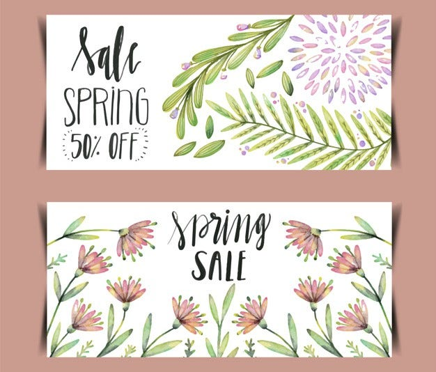 Watercolor Spring Sale Banner