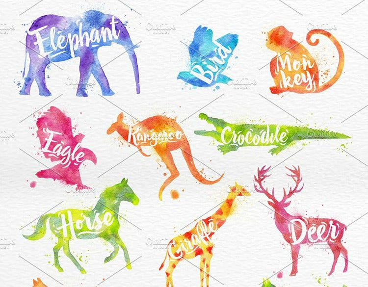 Watercolor Animals Illustration Set