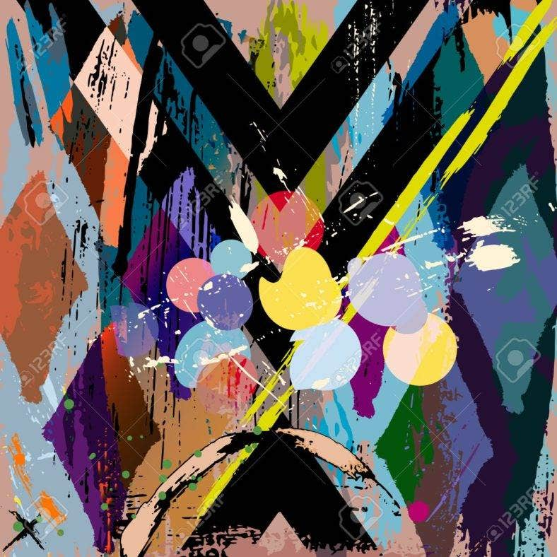 abstract background composition, with strokes, splashes and rhomb