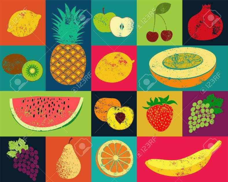 45456418 pop art grunge style fruit poster collection of retro fruits vintage vector set of fruits stock vector 788x630