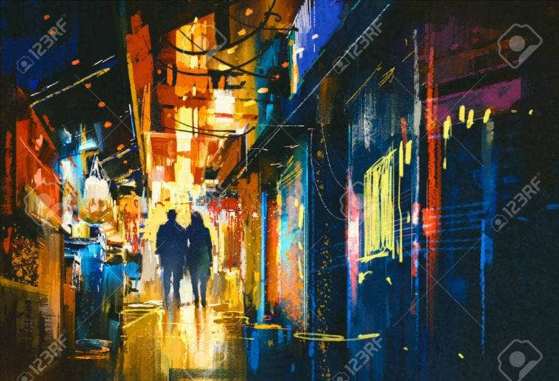 48196469-couple-walking-in-alley-with-colorful-lights-digital-painting-stock-photo