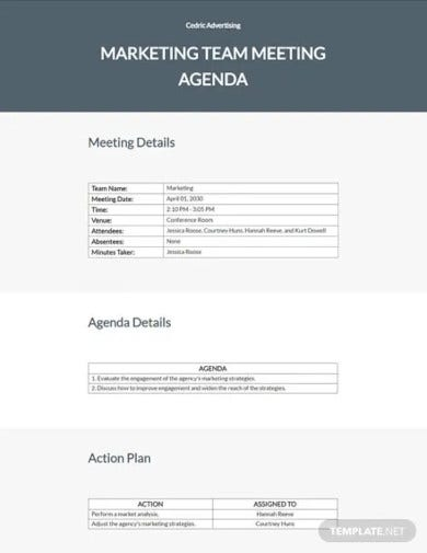ad agency meeting agenda