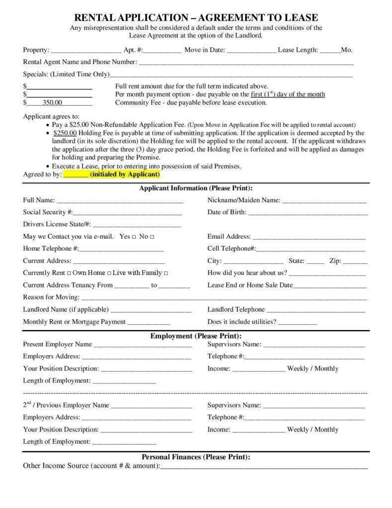 Rental Agreement Lease Template