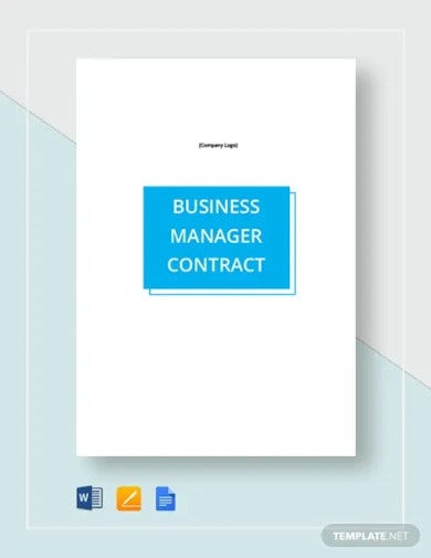 business manager contract template