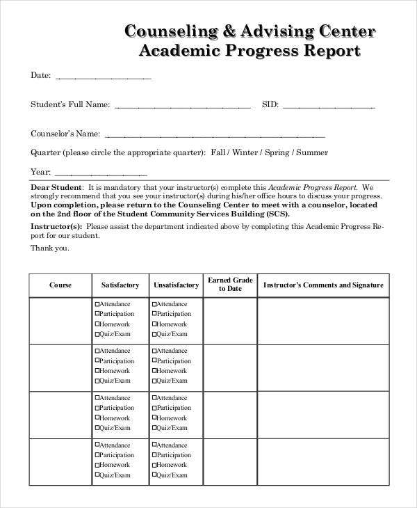 counseling advising center academic progress report