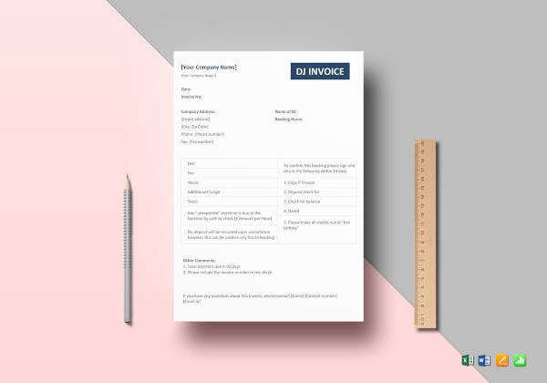 11 Dj Invoice Templates Free Sample Example Format Download