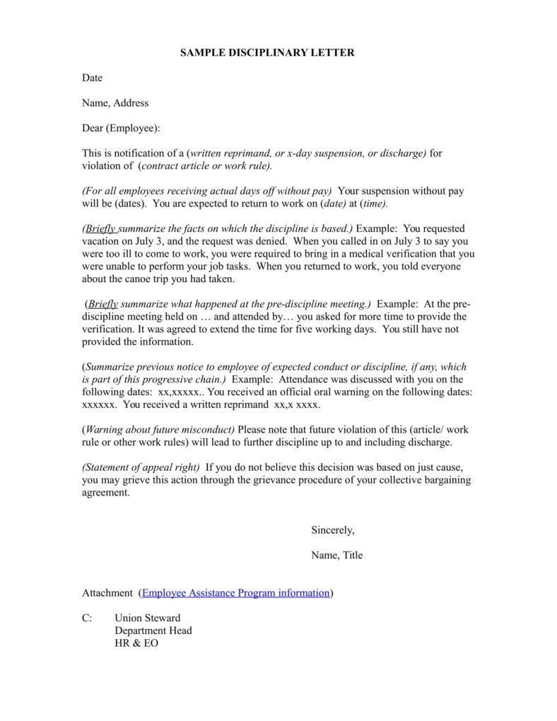 Disciplinary Warning Letter