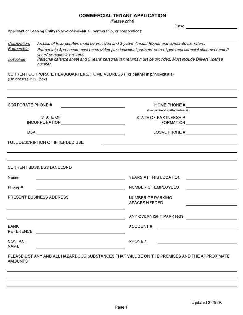 tenant application form template