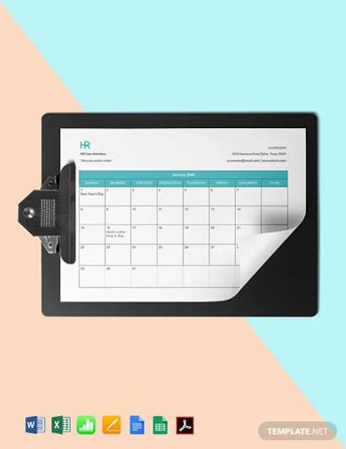 employee attendance calendar template