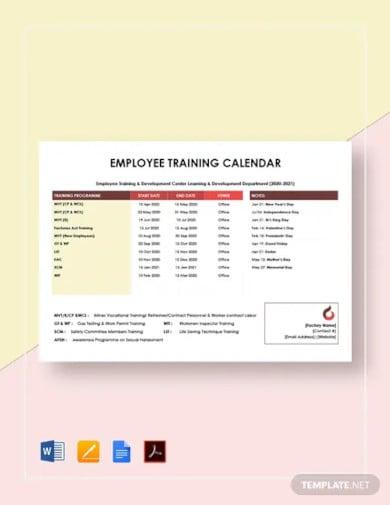 employee training calendar template