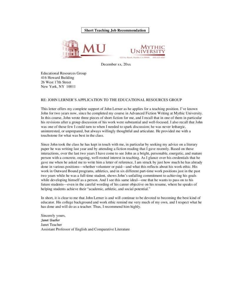teacher assistant letter of recommendation