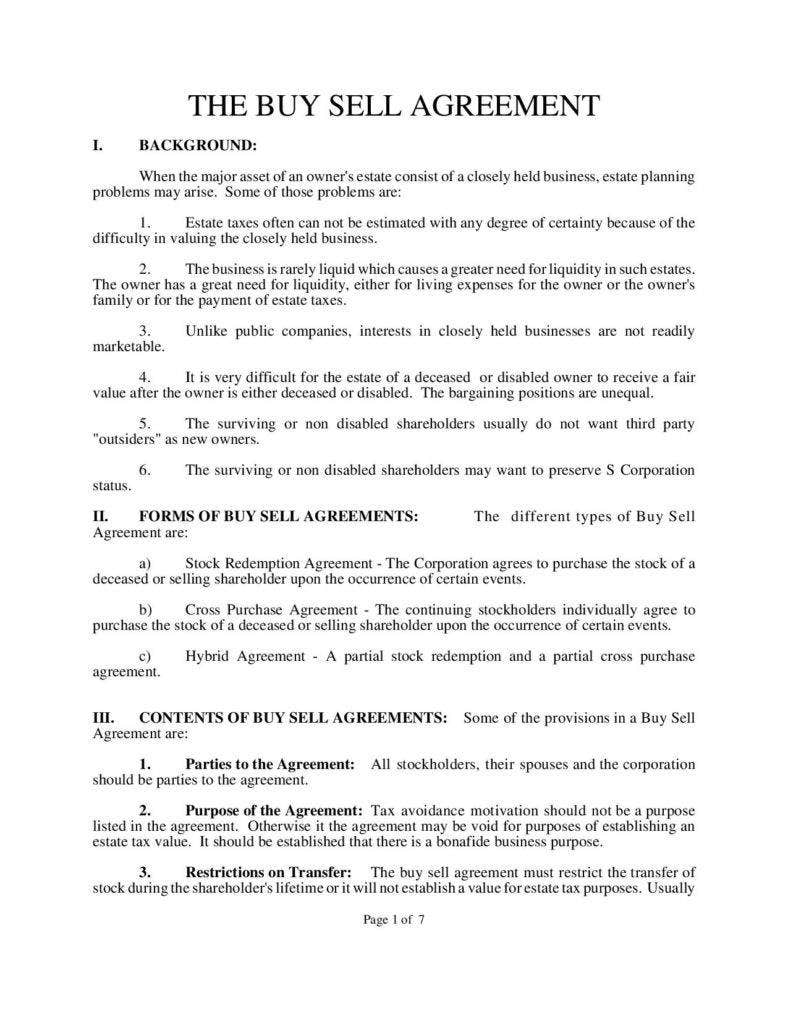 Free Download Buy Sell Agreement Template Images