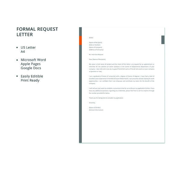 free formal request letter template