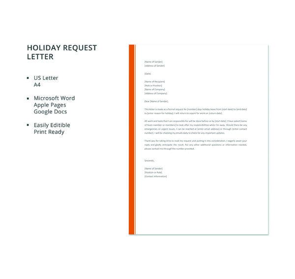 free-holiday-request-letter-template