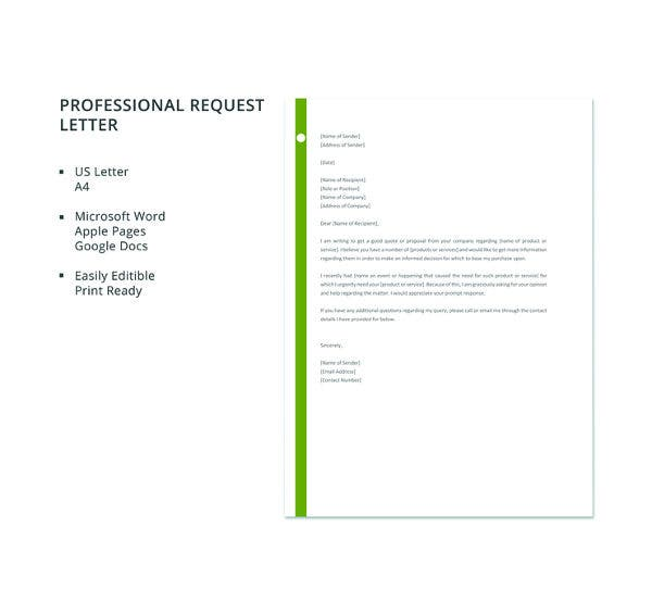 free-professional-request-letter-template