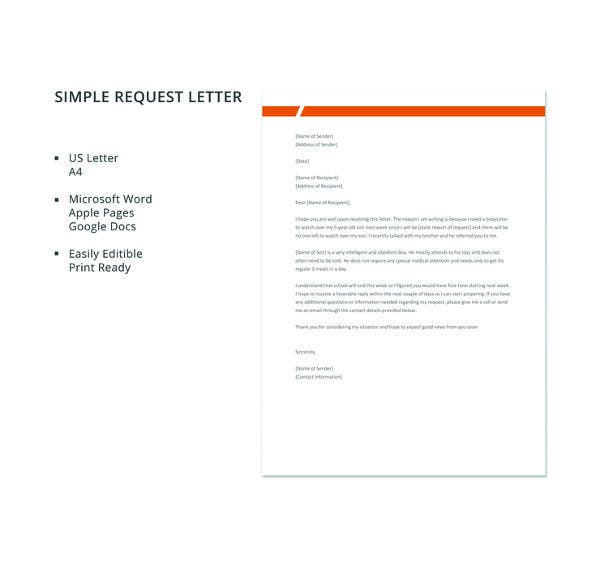 free-simple-request-letter-template