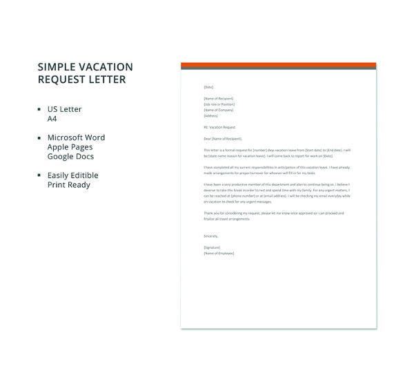 free-simple-vacation-request-letter-template