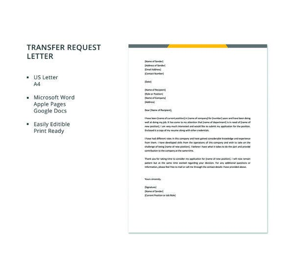 free-transfer-request-letter-template